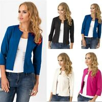 Ladies 3/4 Sleeve Open Front Womens Smart Office Blazer Lined Jacket Outwear Top