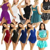 Women Lyrical Dress Contemporary Ballet Dance Leotard Latin Dancewear Skate Gym