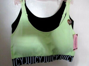 Juicy Couture Sports Wireless Bra Size 2XL Green Black Removal Pads 2PC MSRP $38