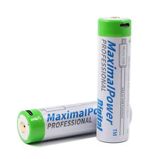 2-Pack 18650 Rechargeable 3.7V 3400mAh Battery with Mirco USB Port & discharge