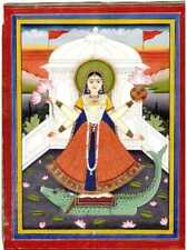 INDIAN MINIATURE PAINTING OF GODDESS RIVER GANGA FINE DETAILED WITH GOLD WORK