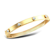 Jewelco London 9ct Gold CZ Hinged Square Tube Eternity Bangle Bracelet