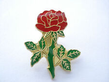TOP QUALITY ENAMEL VINTAGE RED ROSE FLOWER ENGLAND RBL PATRIOT GB PIN BADGE 99p