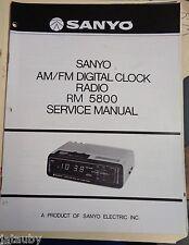 SANYO Vintage Original AM/FM Digital Clock Radio RM 5800 Service Manual