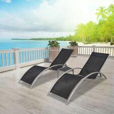 vidaXL Sun Lounge Table Set 3 Piece Aluminium Black Recliner Chair Beach Patio