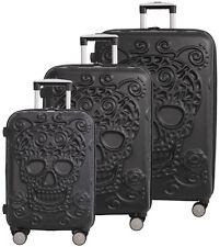 IT Luggage Skulls 3 Piece Expandable Upright Spinner Suitcase Set - Black