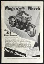 1936 Harley Davidson *Wings on Wheels* Motorcycle AD