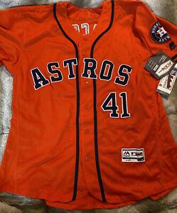 Authentic Houston Astros Alternate Orange Flex Base Jersey Sz 52 PEACOCK 41