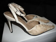 New Cream Leather / Beige Lace Detailed Ankle Strap Court Shoes by Barratts UK 3
