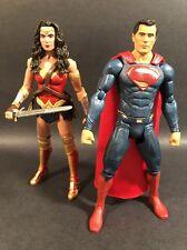 "DC COMICS JUSTICE LEAGUE MULTIVERSE SUPERMAN AND WONDER WOMAN 6"" FIGURES LOOSE"