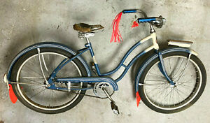 """Huffman vintage antique bicycle w/horn, light, fenders, tassels, 24"""" wheels"""