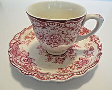 Bristol Crown Ducal England Pink Demitasse Bristol Old Hall Ware Cup and Saucer