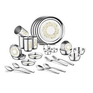 32 Pcs Stainless Steel Dinner Set, Indian Rangoli Laser Printed Designer Set