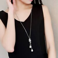 Fashion Pearl Crystal Long Sweater Circle Chain Necklace Vintage Jewellery