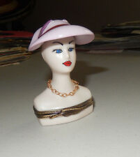 AUTHENTIC LIMOGES painted hat manniquin w/chain no.84 of 100 france TRINKET BOX