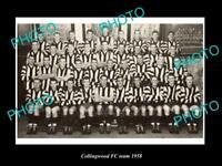 OLD POSTCARD SIZE PHOTO OF COLLINGWOOD FOOTBALL CLUB 1958 VFL PREMIERSHIP TEAM