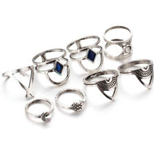 9pc/Set Fashion Vintage Stainless Steel Punk Moon Blue Crystal Ring Band Jewelry