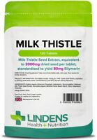 Milk Thistle Seed (equivalent to 2000mg) - 120 Tablets Detox & Liver Lindens UK