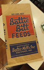 VINTAGE BALTIC MILLS VINCENNES INDIANA 50 LB PAPER FEED SACK BALTIC BILT FEEDS