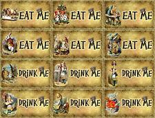 Vintage grunge Alice in Wonderland eat me drink me tent cards party favors 12