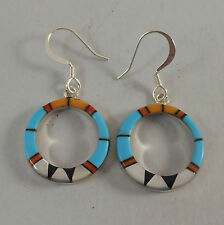 .925 STERLING SILVER TURQUOISE & MULTI STONE CIRCLE EARRINGS