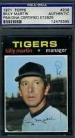 Billy Martin Signed Psa/dna 1971 Topps Certified Authentic Autograph