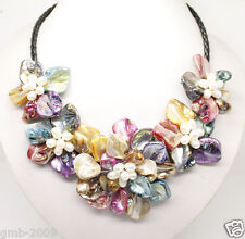 """Five Flowers Bloom Bid Necklace 18"""" Gorgeous New Multicolor Baroque Shell Pearl"""