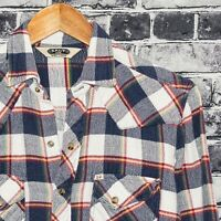 Salt Valley Men's Western Pearl Snap Shirt Blue Plaid Blanket Cotton Sz Small