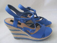 THEME BLUE PLATFORMS WEDGE SHOES SIZE 9 1/2 M - NEW