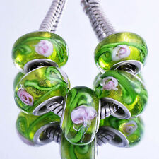 5pcs Silver Chamilia Green Murado Glass Beads Fit European Charms Bracelet