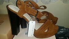 Red herring Tan suedette  high block heeled  sandals
