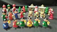 25-Vintage Wood Girls Figurines Trees Plastic Fireplace Teddy Bears