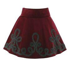 RALPH LAUREN Blue Label Burgundy Velvet Spanish Braided Applique Circle Skirt 2