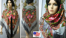 "Russian Ukrainian Gypsy Shawl Woolen Floral w/Fringes 55""/140cm Gray  Wool #BR8"