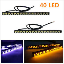 2Pcs 40 LED Car Front Cool-White DRL Fog Lamps Amber Turn Signal Lights Strips