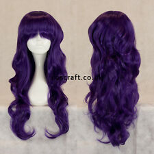 Long wavy curly cosplay wig with fringe in deep purple, UK seller, Charlie style