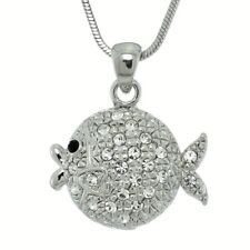 """FISH Made With Swarovski Crystal Ocean Coral Reef Sea 18"""" Chain Pendant Necklace"""