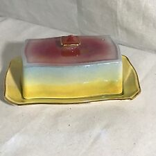 Royal Winton Grimwades Cheese Butter Dish Opalescent Lusterware Pink Yellow Blue