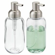 mDesign Plastic Refillable Liquid Soap Dispenser Pump, 2 Pack - Clear/Brushed