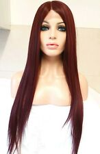 Red Purple Burgundy Human Hair Wig Front Lace Silky Smooth Straight