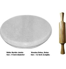 White Heavy Base Marble Chakla With Wooden Belan/Marble Roti Maker/Marble Rollin