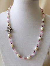 """Sterling silver Teapot & Spoon white pearl crystal beads strand necklace 18.5""""L"""