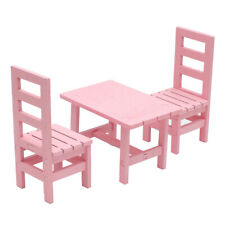 1/6 Dollhouse Miniature Oblong Dining Table Chair Set Kitchen Furniture Pink