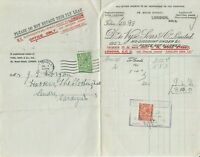 M2106 Vyse (London) overprint 2d KGV 1922 2ce used invoice receipt perfin 1/2ds