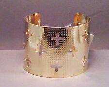 Christian Bangle Cuff Bracelet CROSS CUTOUTs Polished GOLD Tone Great Gift!