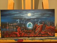 Demons original oil painting small 14 by 7 in darkness