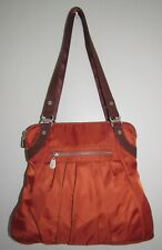 Baggallini Orange & Brown Leather Trim Audrey Pleated Shoulder Bag Tote & Wallet