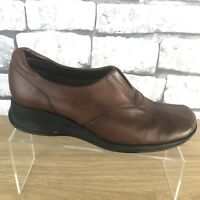 Clarks Ladies Leather Cushion Soft Brown Mid Wedge Heel Court Shoes Uk 4.5 D