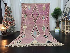 Moroccan Handmade Boujaad Berber Rug 5'2x8'2 Geometric Purple Wool Tribal Carpet