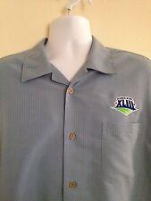 Cubavera Super Bowl XLIII Coors Light Camp Aloha Shirt Blue Short Sleeve Large